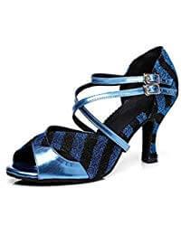 zapatos de baile latino azul electrico