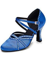 zapatos de baile latino azul eléctrico